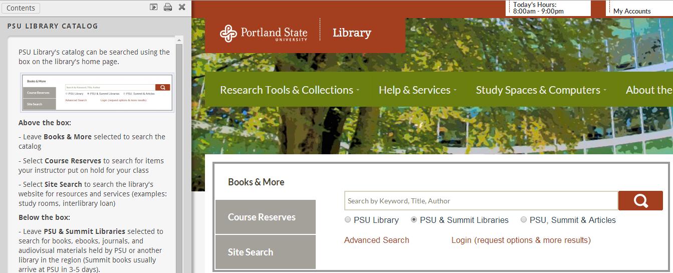 PSU Library Catalog tutorial