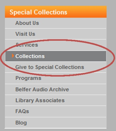 "Image of the location of the ""Collections"" tab on the SCRC website."