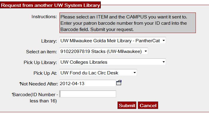 UB Request screen