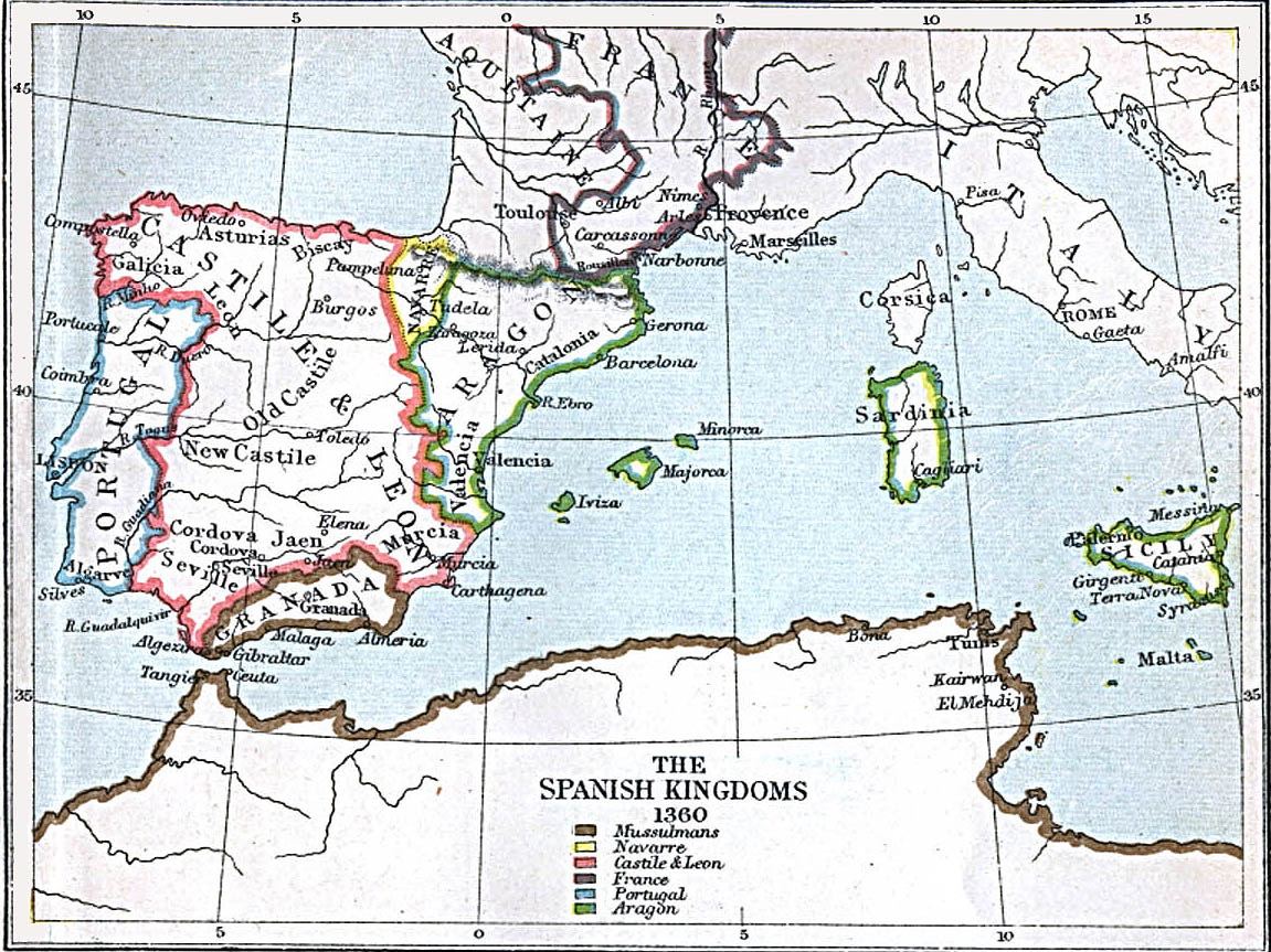 Map of the Spanish Kingdoms of 1360 courtesy of the UT Libraries, University of Texas at Austin