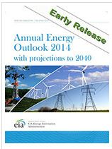 cover of Annual Energy Outlook report, picture of powerlines, wind turbines