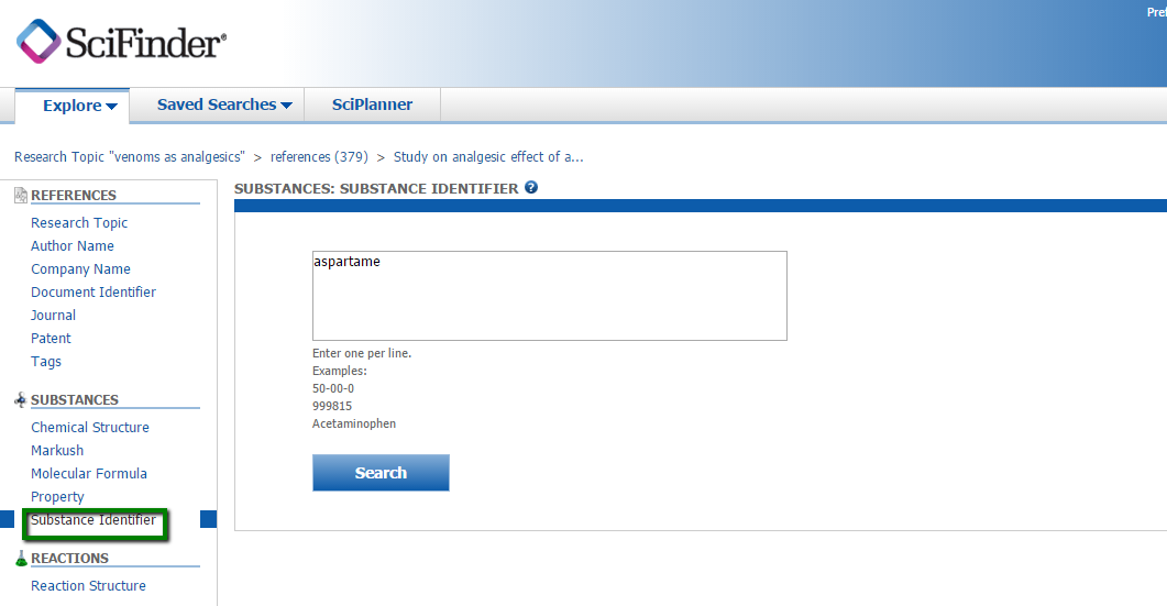 Screen shot from SciFinder Scholar showing substance identifier search interface