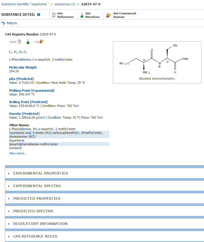 Screenshot showing the location of the CAS Registry number on the substance view screen.