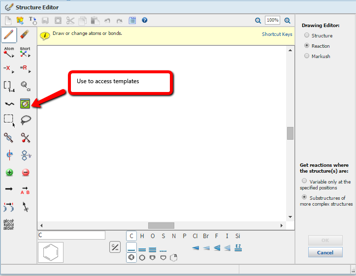 Screenshot of the Structure Editor screen in SciFinder Scholar
