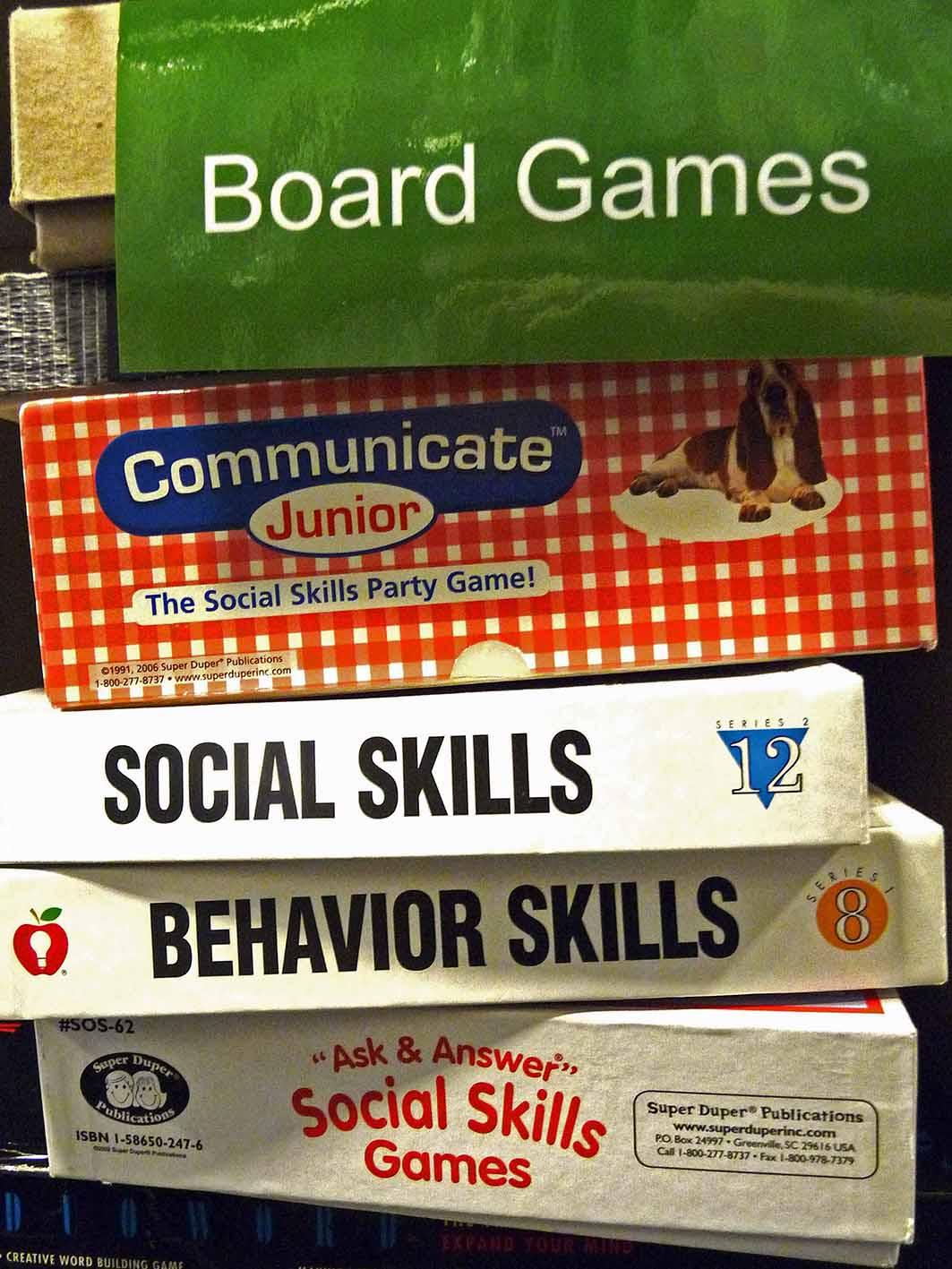 board games on display at giblin eunson library
