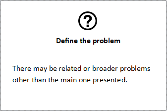 Define the problem  There may be related or broader problems other than the main one presented.