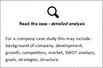 Read the case - detailed analysis For a company case study this may include - background of company, development, growth, competitors, market, SWOT analysis, goals, strategies, structure.