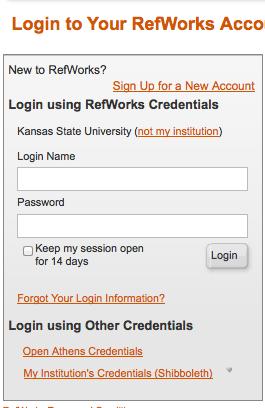 RefWorks login screen