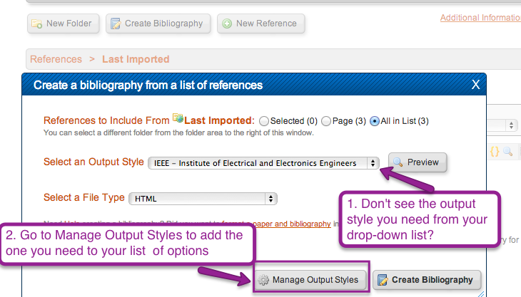Go to manage output styles