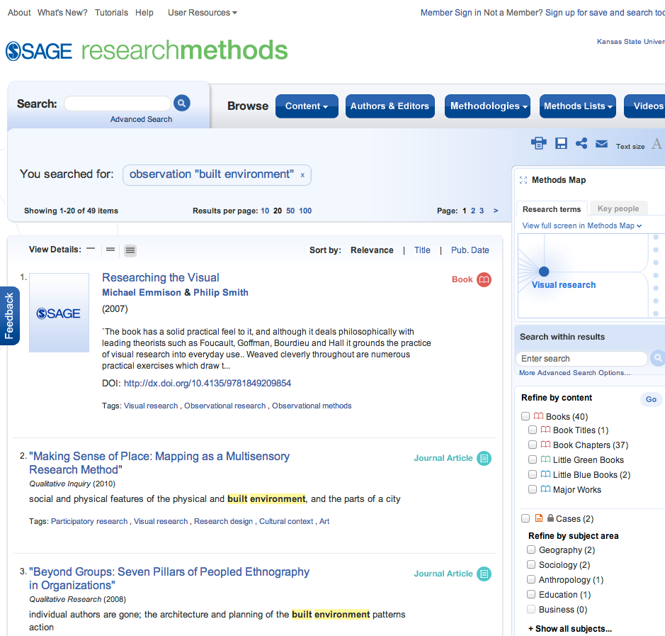 image of Sage Research Methods search results screen