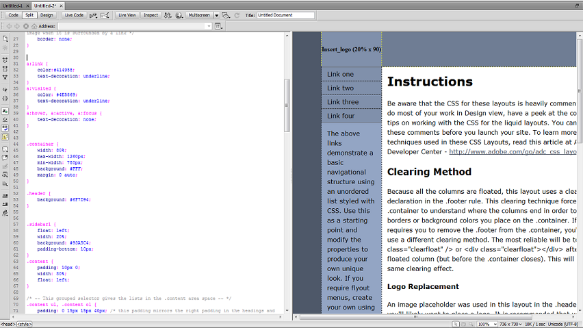 dreamweaver split view