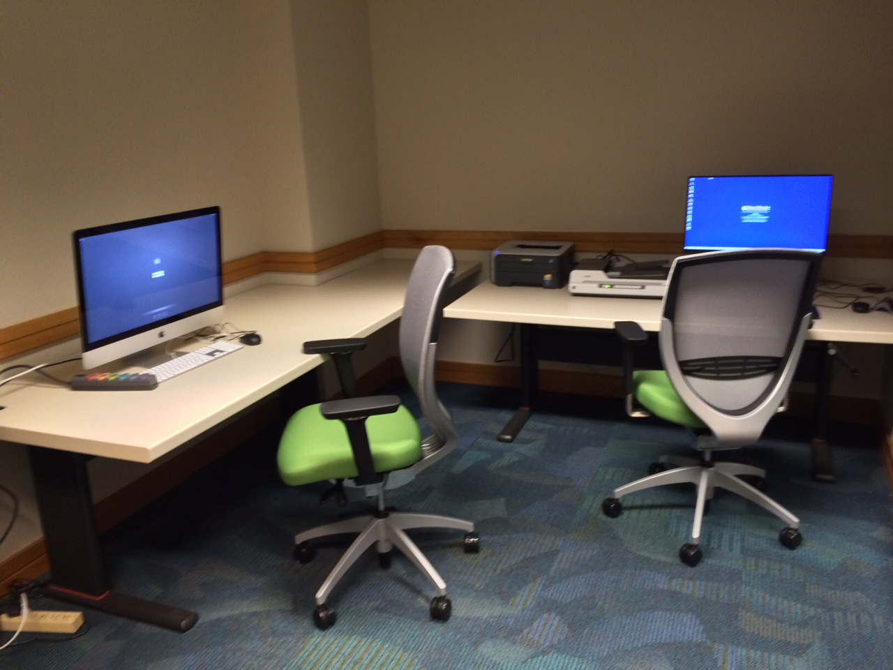 Photograph of computer stations in the Butler Assistive Technology Room.