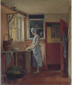 Painting of a kitchen interior from the turn of the 20th century.  A woman stands at the counter cooking a bird