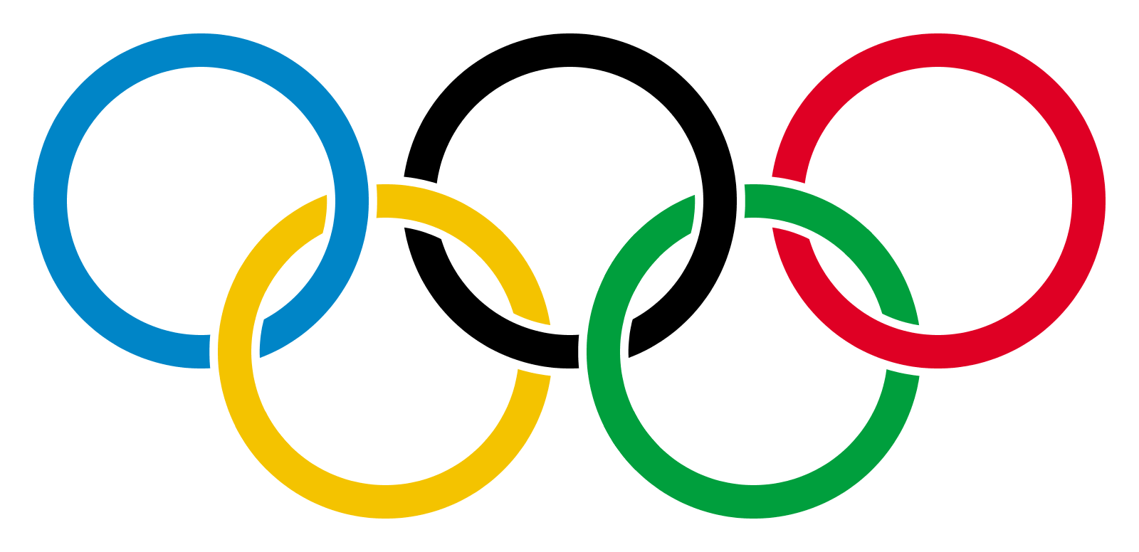 The olympic ring symbol (blue, black and red on top, yellow and green on the bottom)