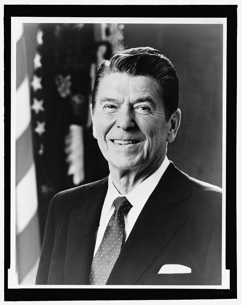 Ronald Reagan, head-and-shoulders portrait, facing front [Photograph found in Library of Congress Prints and Photographs Division, Washington, DC]. (n.d.). In Library of Congress. Retrieved from http://www.loc.gov/pictures/item/96522678/ (Originally photographed 1981)