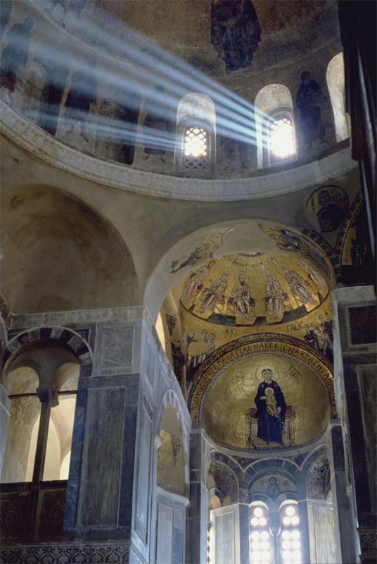 Hosios Loukas Monastery: Church of the Katholikon, interior, view towards E. showing dome and apse with mosaics, ca. 1021