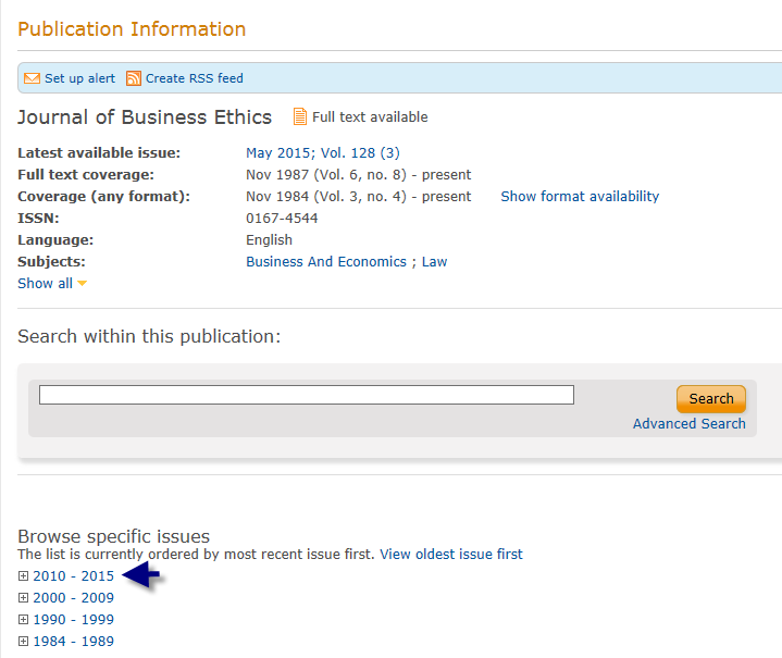 Journal of Business Ethics Date Range