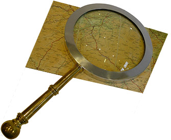 Antique Magnifying Glass with Map  Find Icon