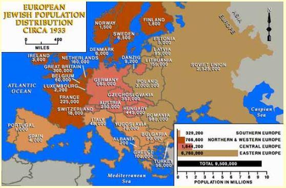 Jewish Poulation Map of Europe 1933