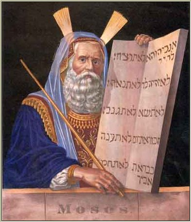 Hand-colored Lithograph of Moses
