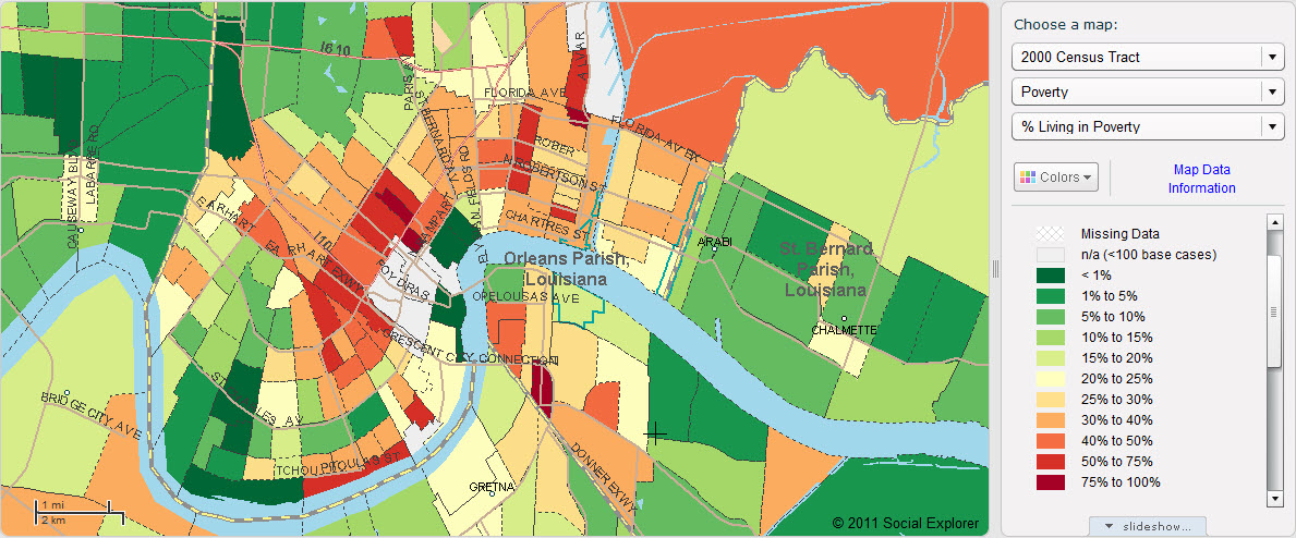 Percent living in poverty in Orleans Parish, 2000 (Social Explorer)
