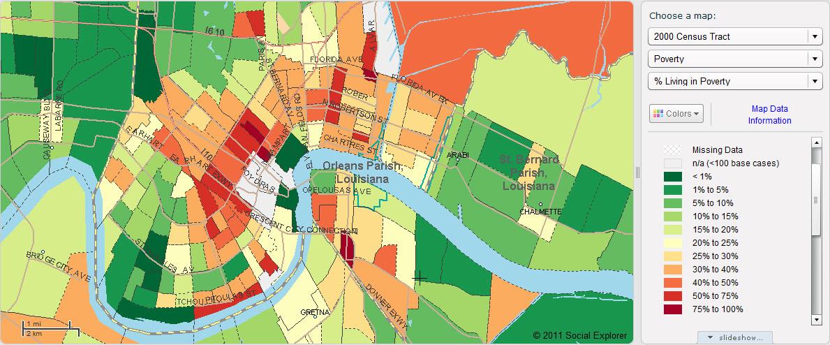 Percent living in poverty in Orleans Parish, 2000 (Social Explorer)