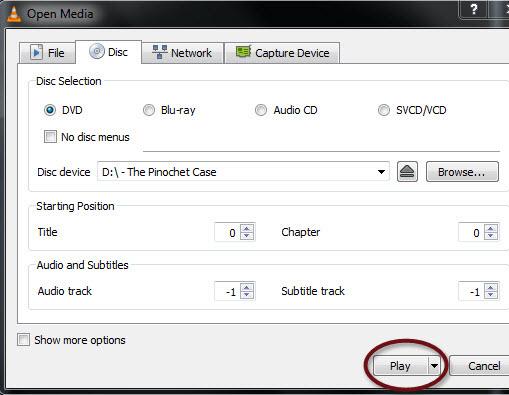 VLC Media Player menu