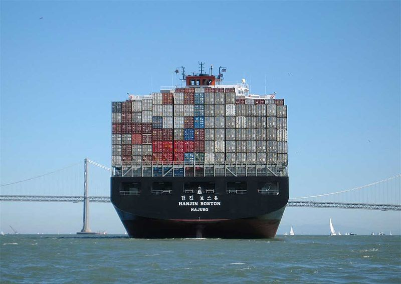 Shipping containers on freight ship