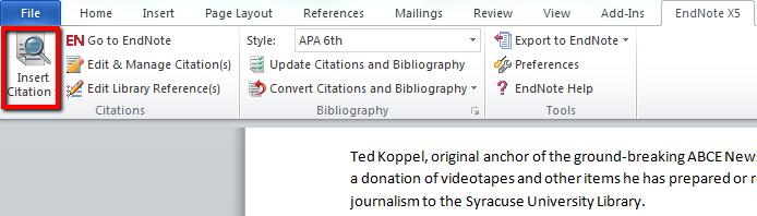 Screen shot of insert citation button