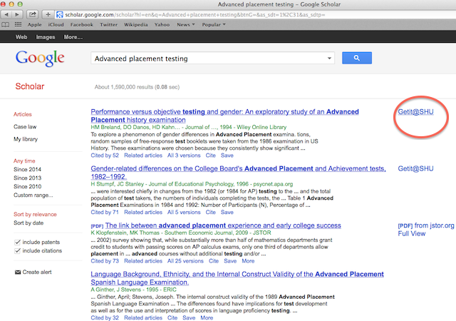 Getit@SHU highlighted on Google scholar results page