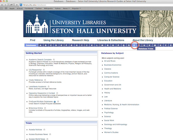 "Databases homepage with the letter ""S"" highlighted"