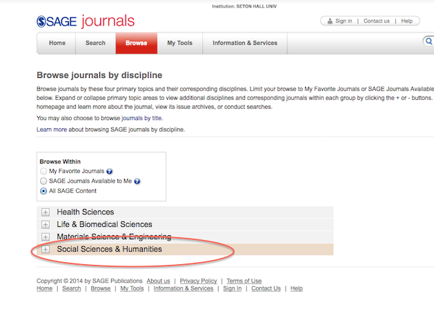 "SAGE Journals Browse screen with ""Social Sciences & Humanities"" highlighted"