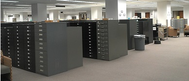 microform area on 2nd floor of Evans Library