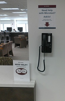 Evans Library 2nd floor microform help phone