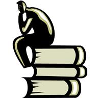 thinking man on a stack of books