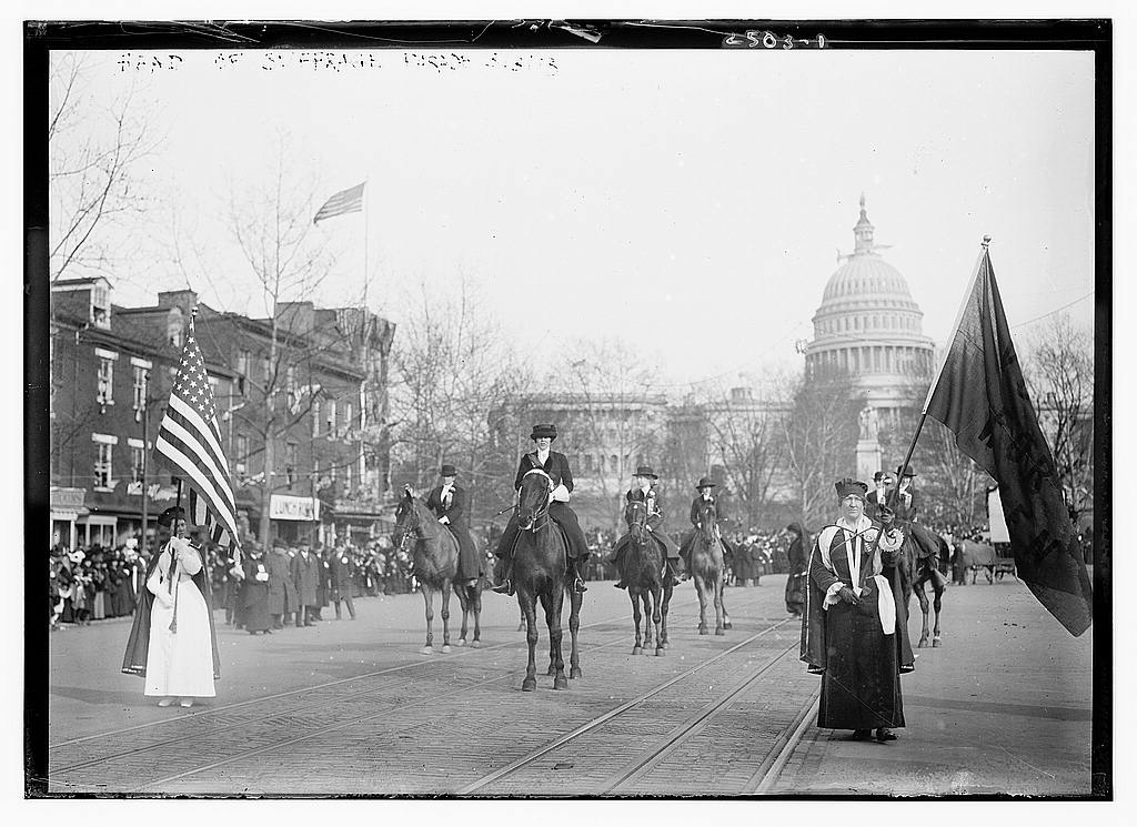 Women's Suffrage Parade; link leads to larger version of the photograph.