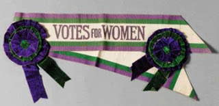 Suffragist bannes purple and gold