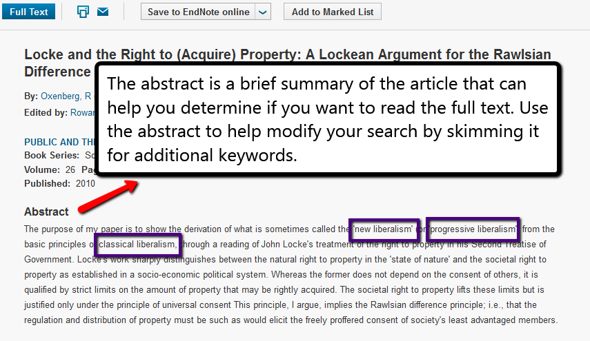 screenshot of an article's abstract with several keywords highlighted. The abstract is a brief summary of the article that can help you determine is you want to read the full text. Use the abstract to help modify your search by skimming it for additional keywords