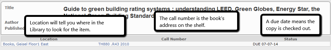 screenshot of the location information on a catalog record. The Location will tell you where in the library to look for the item. The call number is the book's address on the shelf. A due date in the status field means the item is checked out