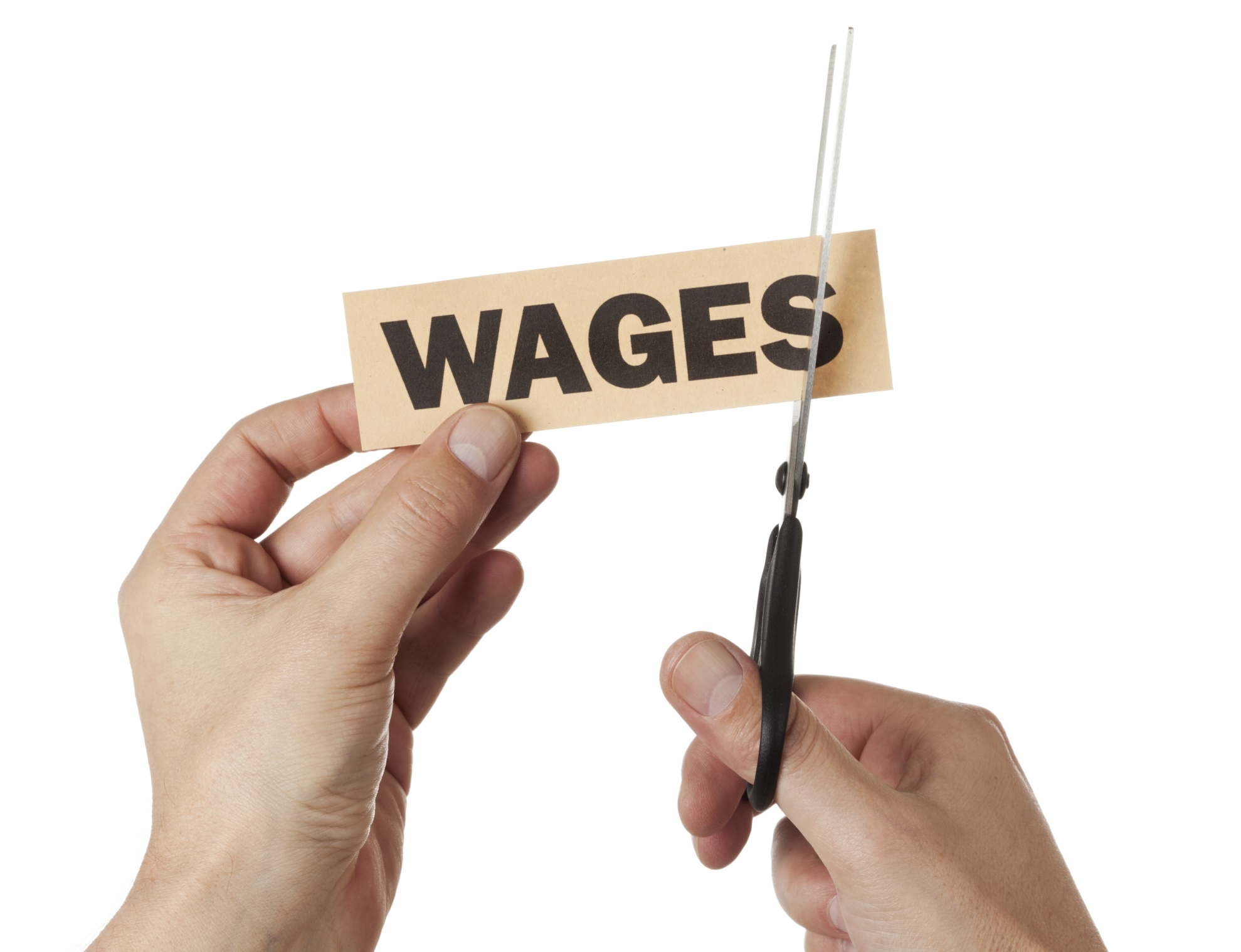 """This image shows a hand cutting the """"s"""" letter from the word """"wages."""""""