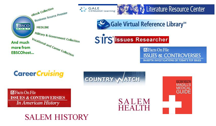 This picture contains images or logos of the most popular databases used at Citrus College Library.