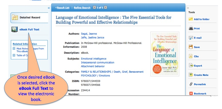 Once desired eBook is selected, click the eBook Full Text to view the electronic book