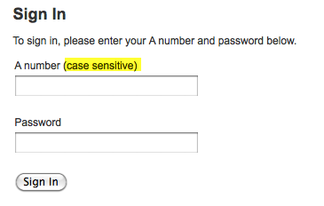 Case-sensitive log-in