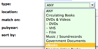 ebook Type search in library catalog