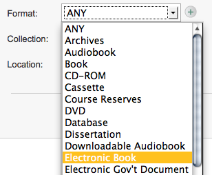 Electronic Book format search in Encore