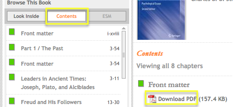SpringerLink contents menu