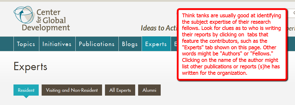 Image of a page from the Center for Global Development that helps the user identify information about the authors of various research projects.