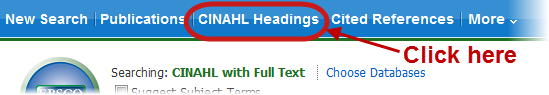 CINAHL headings button