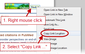 Getting link to article using the Find It button
