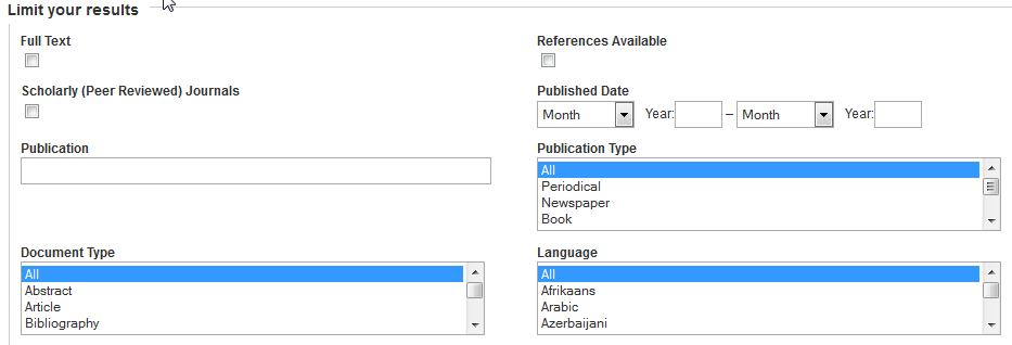 Search limits on a search screen, including Full Text, Scholarly Journals, Document Type, References Available, Published Date, Publication Type, and Language.